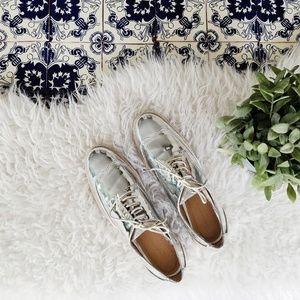 ZARA metallic silver oxford shoes